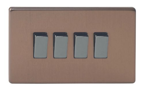 Varilight XDY9S.BZ Screwless Brushed Bronze 4 Gang 10A 1 or 2 Way Rocker Light Switch